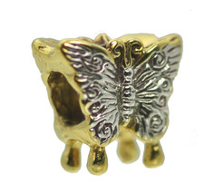 Butterfly charm European bead jewelry 24K Gold Plated & Sterling silver Jewelry - $22.05