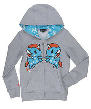 Tokidoki Hoodie TKDK American Dreams Grey Zip Fleece Sweatshirt Anime Un... - £22.72 GBP