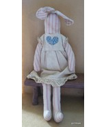 "Vintage Tea-Stained Bunny Doll 17"" Standing Hand Made                   ... - $14.94"