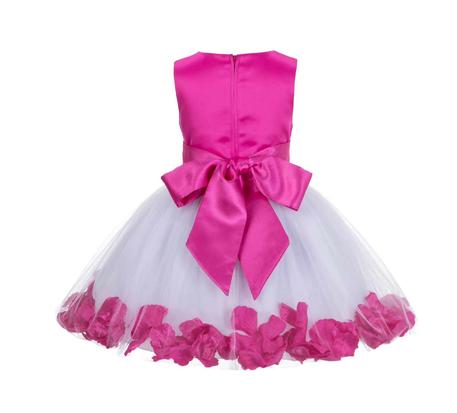 Satin Fluffy Tulle Rose Petal Flower Girl Dress Bridesmaid Wedding Pageant 305Ns