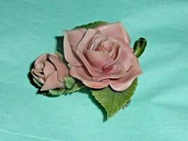 Vintage Pink Rose Pin 1960's Flower Brooch Pell? - $16.40