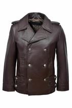 Men's German Brown Naval Military Real Leather Jacket Coat - $74.24+
