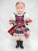 Girl Doll Traditional Costume European Hard Plastic Head Soft Arms Legs ... - $39.59