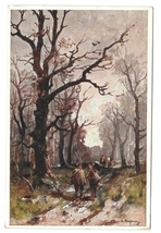 Adolf Kaufmann Winter Wooded Landscape Travelers on a Path BKWI 764 3 Po... - $5.99