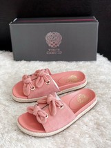 New VINCE CAMUTO Jazzan Bow Tie Slide Sandals Suede Pink Women's Size 6M... - $36.00