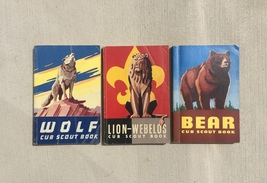 Vintage 50s Cub Scout 3 book set: Wolf, Lion, Bear (used)