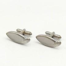 Vintage Mens Silver Tone Shields Mid Century Design Cufflink Set - $41.21