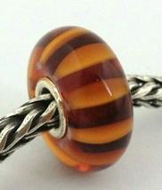 Authentic Trollbeads Brown Stripe Bead, Murano Glass Charm, 61357 New - $23.74