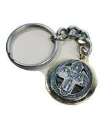 "Keychain Key Ring Cross Catholic Jesus Mother Mary 1"" Round Silver Gold ... - $12.73"