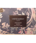 Cynthia Rowley Pink Aqua Floral on Dark Blue Cotton Sateen Duvet Cover S... - $95.00