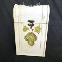 Hand Painted Shabby Chic Wooden Wine Box Holds 2 Bottles Grapes & Brass ... - $18.00