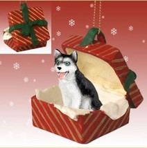 SIBERIAN HUSKY black white blue eyes DOG CHRISTMAS GIFT BOX ORNAMENT Pre... - $14.95