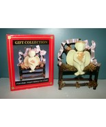 Gift Collection Porcelain Angel sitting on Wooden Chair 2 piece includes... - $8.90