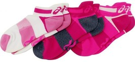 Asics Quick Lyte Cushion Single Tab 3 Pairs Socks S Small Womens Size 6-7.5 Pink