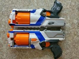 Lot 2 Blue Nerf N-Strike Elite Strongarm 6 Shot Soft Dart Gun Blaster Toy Hasbro - $24.75
