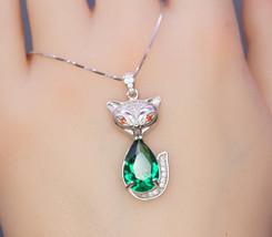 Emerald Necklace - Sterling Silver Green Gemstone Fox Pendant - $84.00
