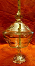 Vintage Indiana Glass Clear Starburst Pattern Pedestal Covered Candy Dish image 5