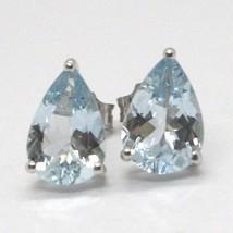 White gold earrings 750 18k aquamarine drop 2.24 carats image 1