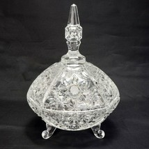 Vintage Cut Crystal Footed Covered Candy Bowl Dish Spire Steeple Lid Com... - $54.50