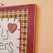 """Wooden Plaque """"Family Gathers Here"""", fall harvest country decor, fabric buttons image 5"""