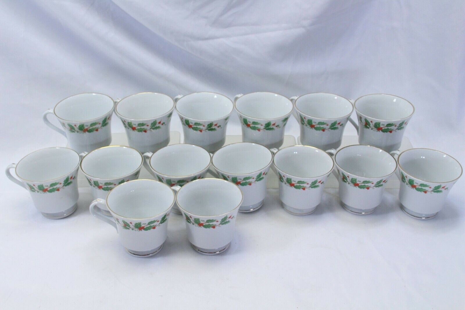 Primary image for China Pearl Xmas Cups Lot of 15 Brown Back Stamp