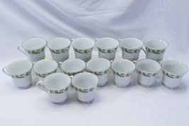 China Pearl Xmas Cups Lot of 15 Brown Back Stamp - $54.87