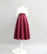 Wine Red Midi Party Skirt A-line Polyester Pleated Midi Skirt Holiday Outfit  image 4