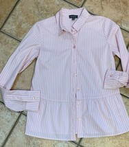 THE LIMITED PINK WIHTE STRIPED TOP BLOUSE BUTTON DOWN PEPLUM  XS S LONG ... - $17.06
