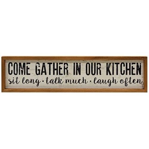 Primary image for Rustic style Gather in our kitchen wood frame Farmhouse wall sign family gifts