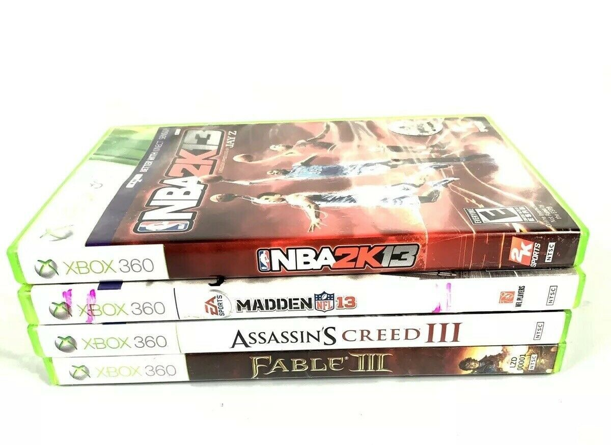 Xbox 360 4 Game Lot NBA 2k13 Madden 13 Fable III Assassins Creed III Video Game