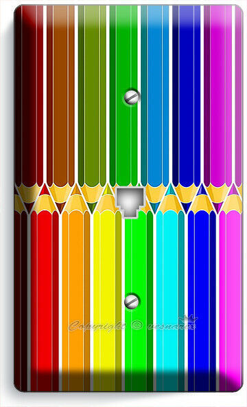 BRIGHT COLOR PENCILS PATTERN PHONE TELEPHONE COVER PLATES ART HOBBY STODIO DECOR