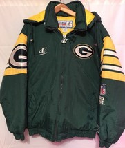 Vtg NFL PRO-LINE Green Bay Packers Authentic Hooded Winter Jacket - Large - $48.19