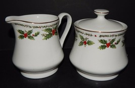 Centurion Collection  Porcelain Holly Holiday Creamer & Sugar Bowl Red G... - $34.64