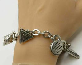 925 Sterling Silver - Vintage Retro Geometric Shape Charm Bracelet - B1936 - $131.40