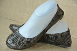 Tory Burch Womens Sz 8 M Brown Snake Leather Ballet Flats NICE! - $49.49