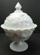 Vintage Westmoreland Hand Painted Milk Glass Covered Candy Sugar Dish Compote #1 - $25.00