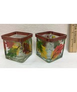 Autumn Fall Decor Candle Holders Hand Painted Vase Artificial Leaf Pick ... - $10.88