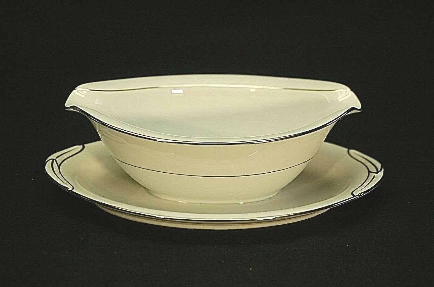 Primary image for Derry by Noritake China 5931 Gravy Boat w Attached Underplate Nippon Toki Kaisha