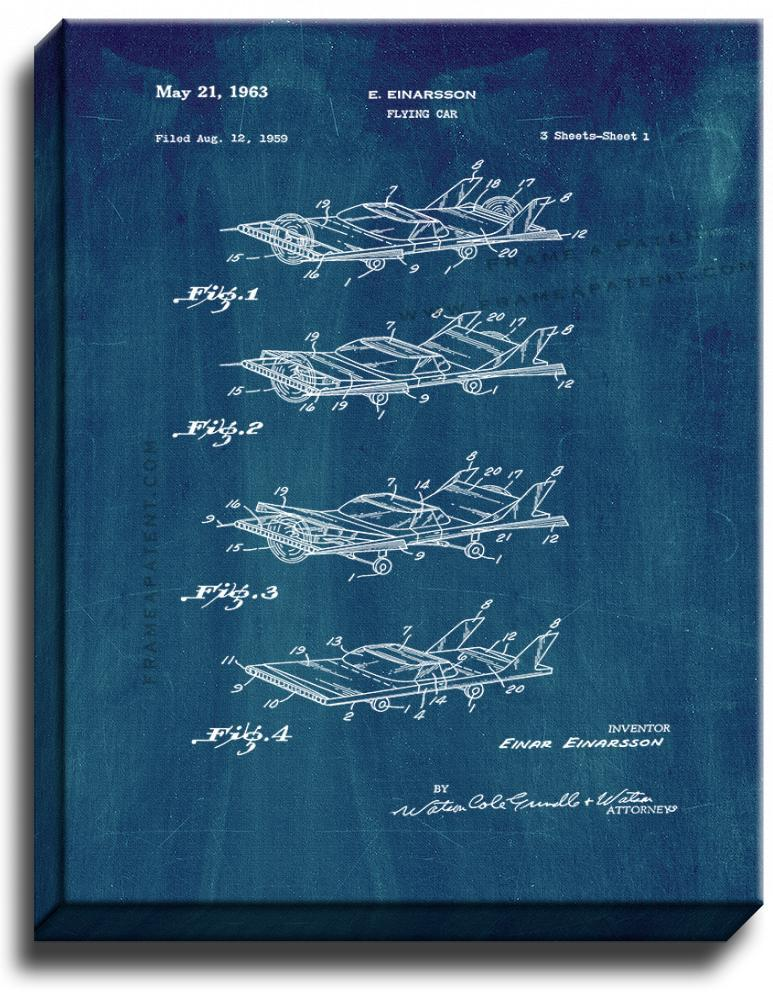 Primary image for Flying Car Patent Print Midnight Blue on Canvas