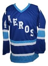 Mark Howe Retro Wha Hockey Jersey New Blue Any Size image 3