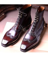 Men's Handmade Ox Blood Patina Leather Dress Custom Made Boots For Men - $179.99+