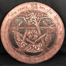 P. Borda Large Moon Pentacle Plaque 2000 Stone Celtic Knot Pagan Wicca - $64.35