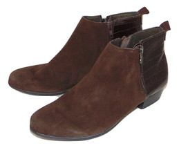 MUNRO Lexi Brown Faux Suede Croc heel Booties Ankle Boot 8 M women - $43.35