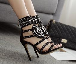 PS408 European style Rhinestones ankle sandals US Size 5-9, black - $48.80