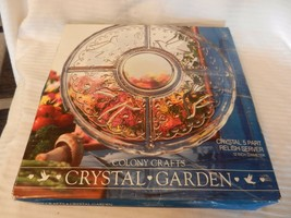 """5 Part Divided Crystal Garden Relish Serving Tray from Colony Crafts 12"""" Diamete - $44.55"""