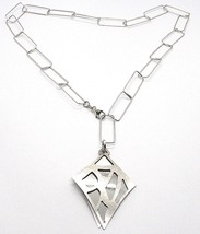 925 Silver Necklace, Rectangular Chain, Double Stacked Diamond, Satin image 1