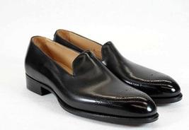 Handmade Men's Black Slip Ons Brogues Loafer Leather Shoes image 1
