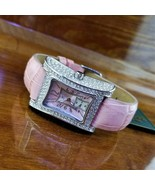New Womens Adee Kaye Micro Pave Crystal Curvex Pink Croc Mother of Pearl... - $195.00