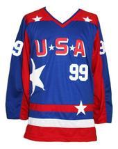 Custom Name # Team USA Retro Hockey Jersey Sewn New Blue Banks #99 Any Size image 1