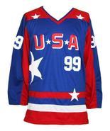 Custom Name # Team USA Retro Hockey Jersey Sewn New Blue Banks #99 Any Size - $54.99+